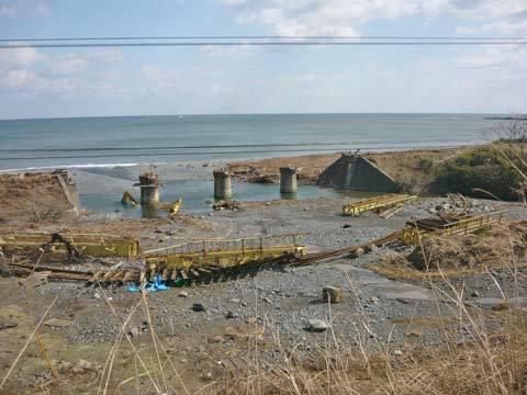 洋野町大浜の津波の爪跡