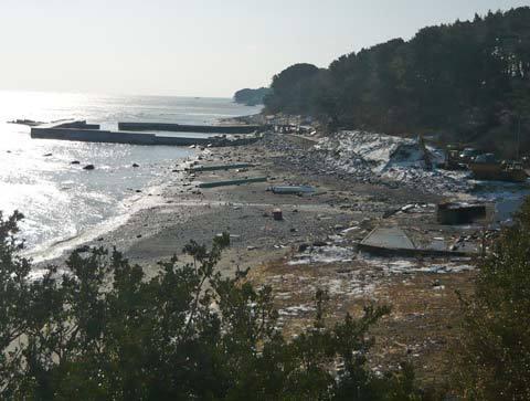 鹿糠漁港の津波の爪跡