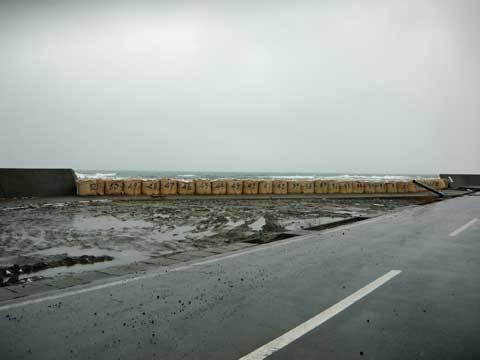 八木漁港の土嚢