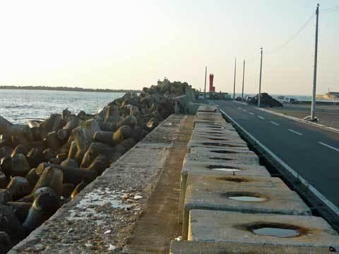 洋野町八木北港の堤防